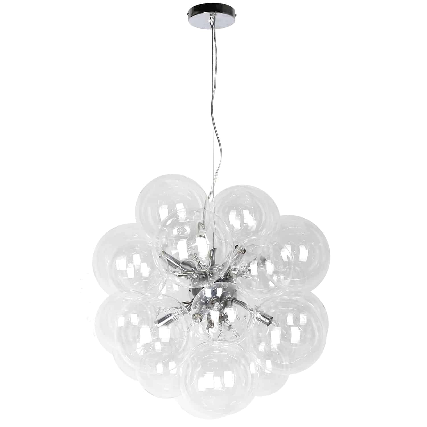 6 Light Halogen Pendant Polished Chrome Finish with Clear Glass