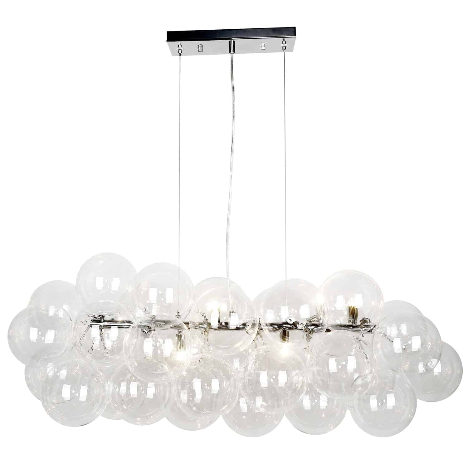 10 Light Halogen Horizontal Pendant, Polished Chrome with Clear Glass