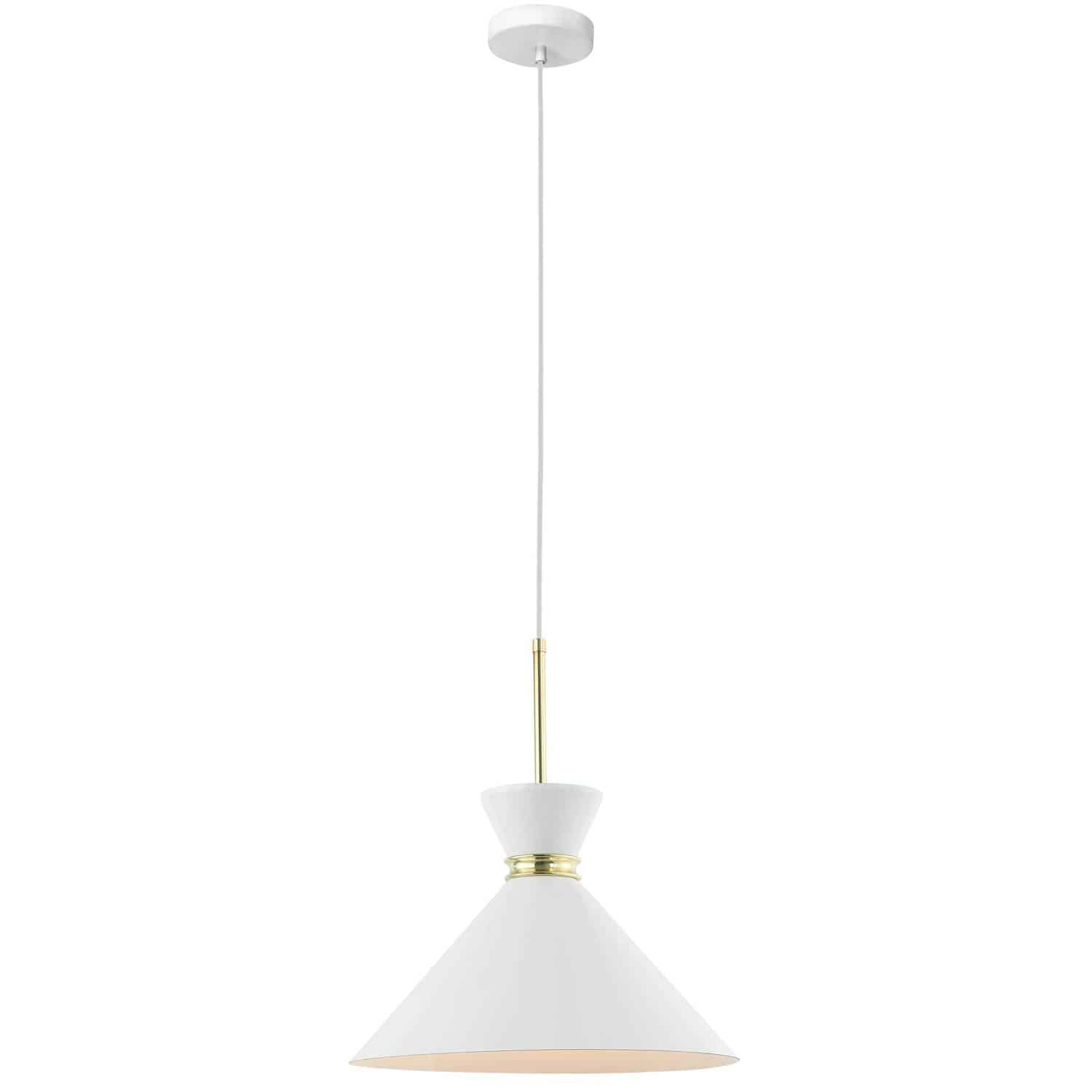 1 Light Incandescent Pendant, Gloss White Shade with Aged Brass Accent
