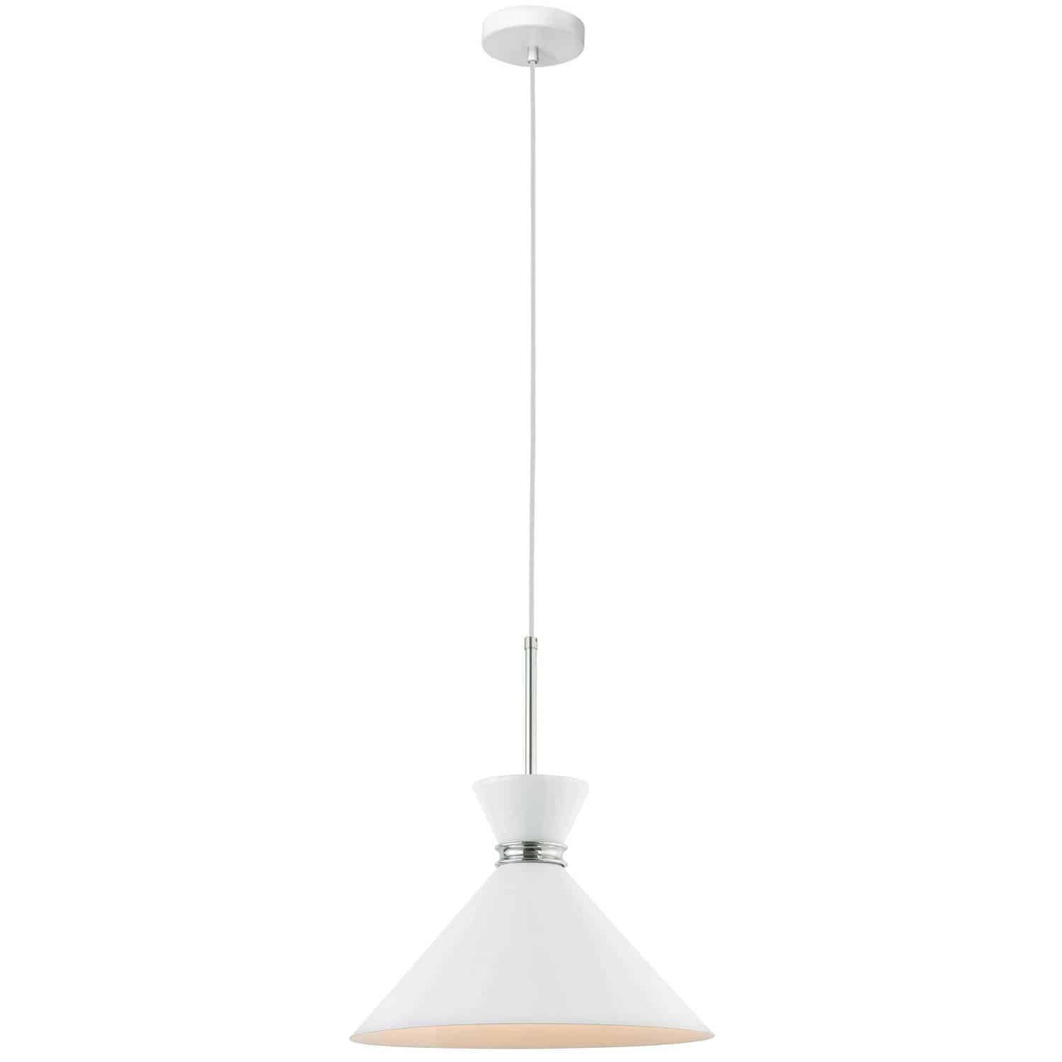 1 Light Incandescent Pendant, Gloss White Shade with Polished Chrome Accent