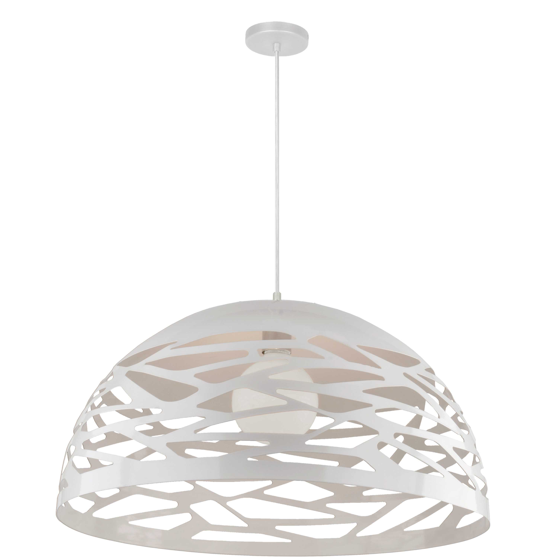 1 Light Pendant, Matte White Finish