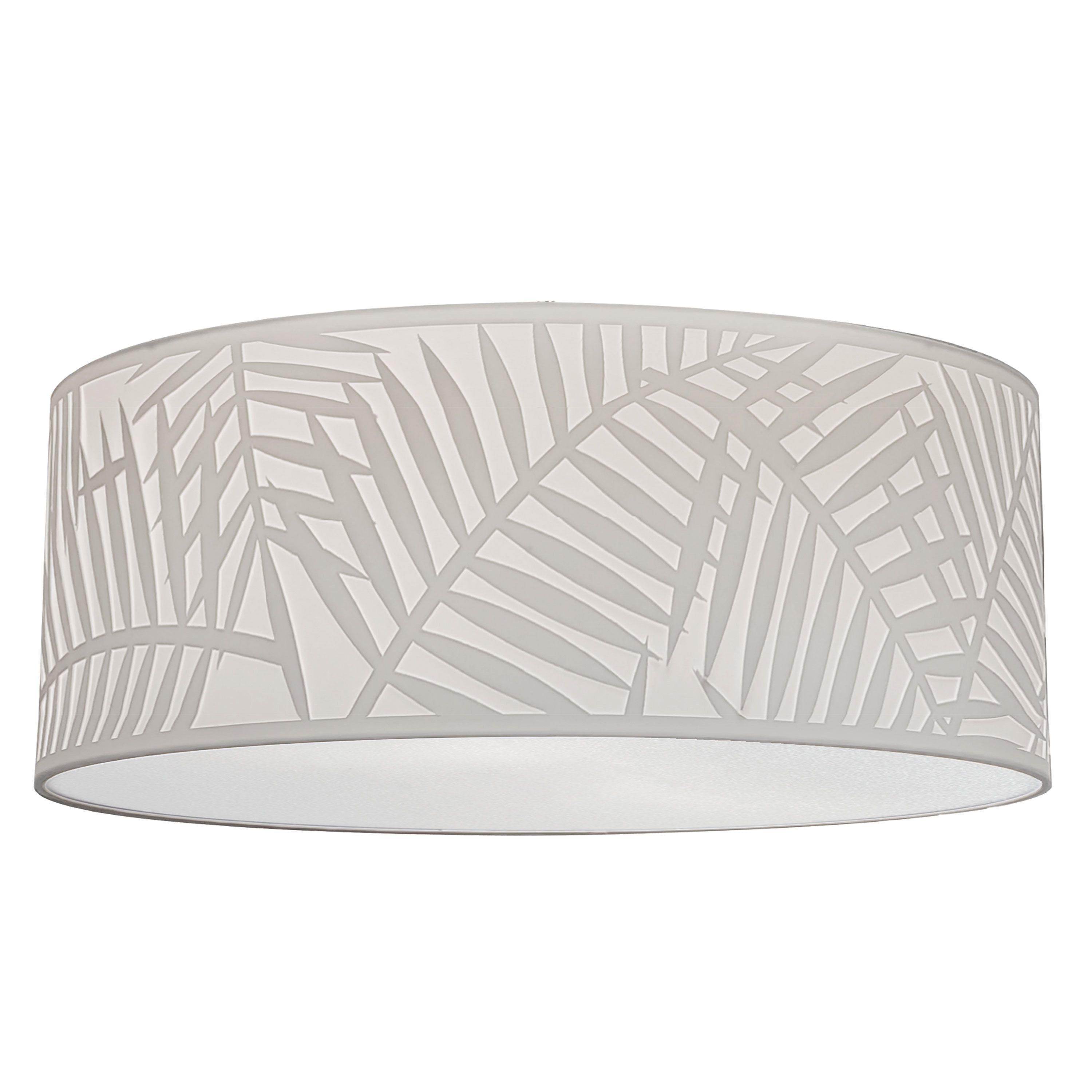 4 Light Polished Chrome Flush Mount w/ White Shade and White Fabric Diffuser