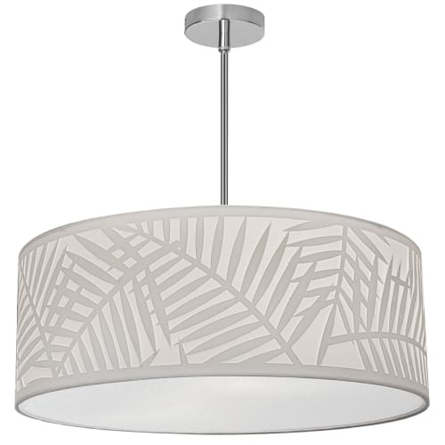 4 Light Polished Chrome Pendant w/ White Shade and White Fabric Diffuser