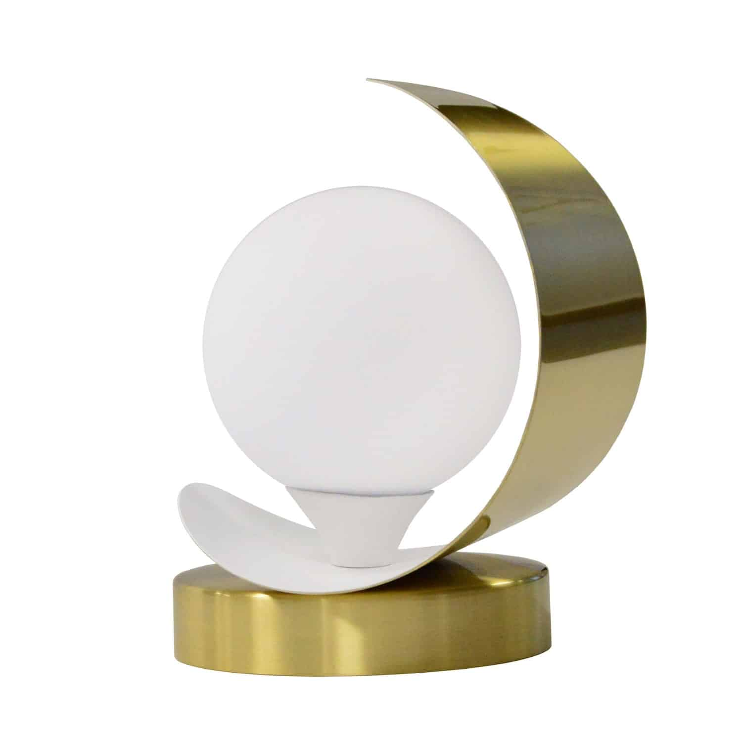 1 Light Table Lamp Aged Brass and Matte White Finish