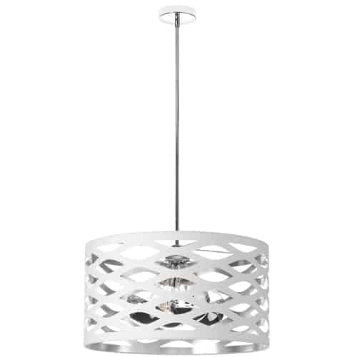 4 Light Pendant, Polished Chrome, Cut Out Drum Shade, White On Silver