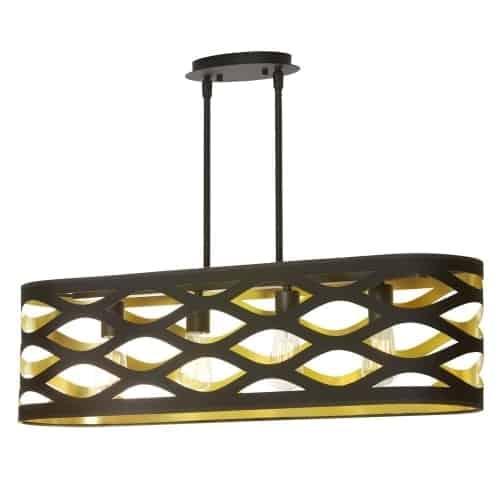 4 Light Horizontal Pendant, Matte Black, Cut Out Oval Shade, Black On Gold