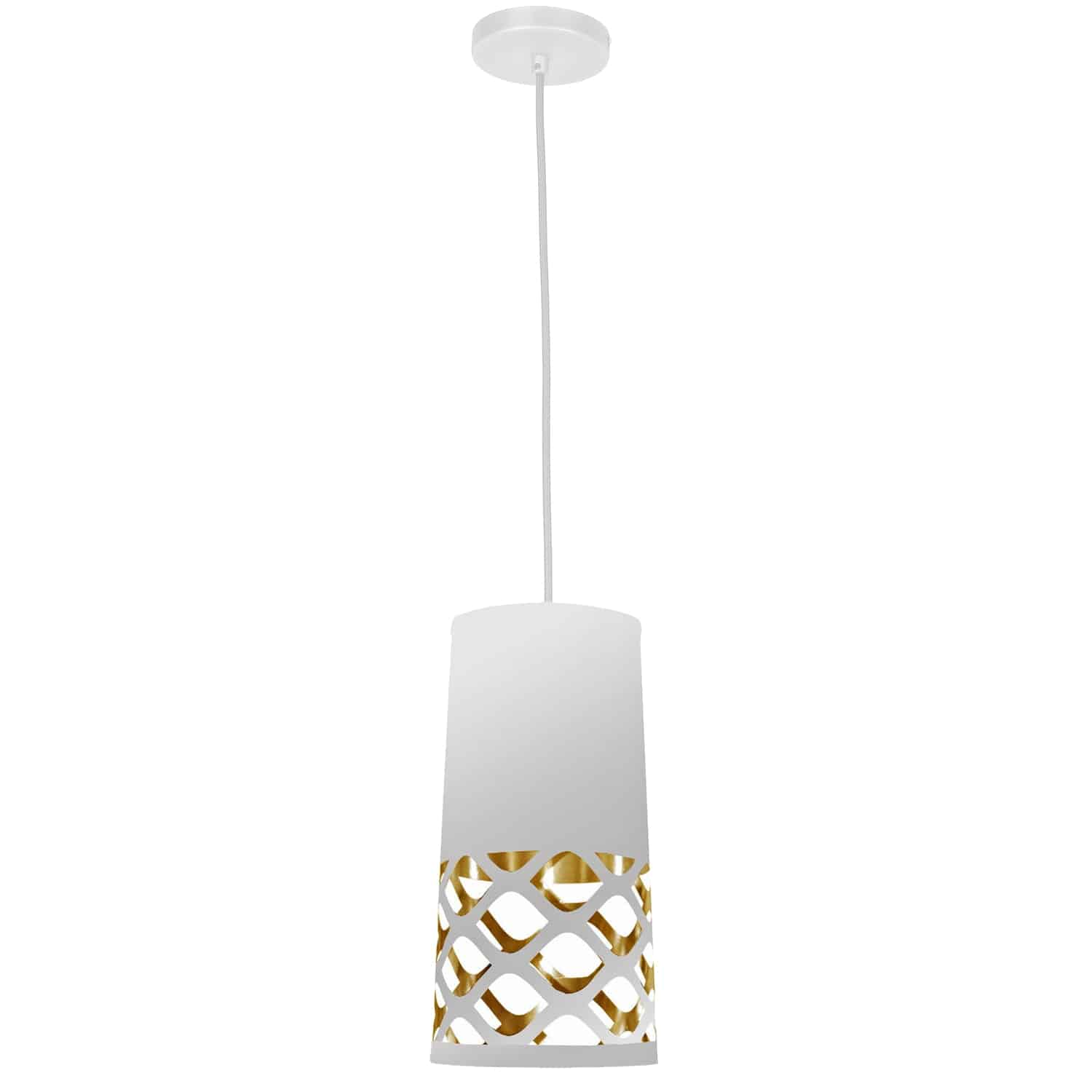 1 Light Pendant with White on Gold Shade