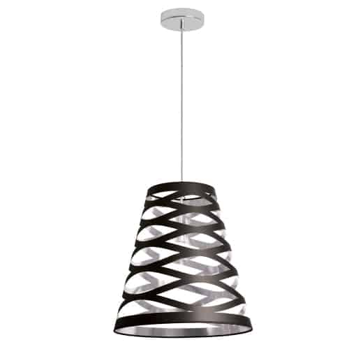 """Like pretty Chinese lanterns, light plays peek-a-boo with the design of Cutouts light fixtures. Cutouts add an enchanting and eye catching element to your home, featuring a conical shade with a geometric """"cutout"""" pattern.  The shade is available in a variety of options with a metallic finish and contrasting colour inside and outside to enhance the geometric design. The one-bulb Cutout pendant lights or portable tabletop designs will add an instant focal point to any corner and are perfect for hallways and smaller rooms. Use a series of Cutout lights in a single room to create an elegant and light infused space."""