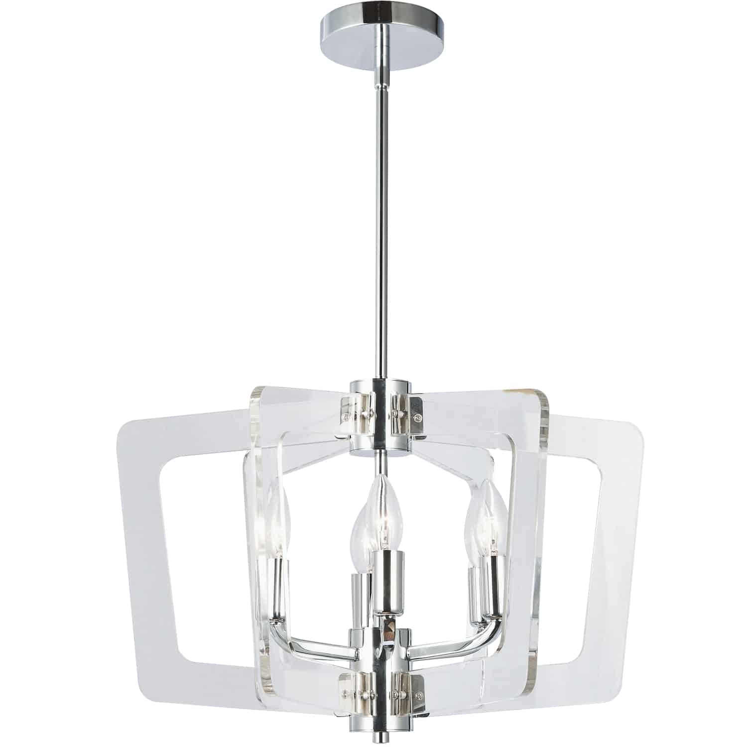 6 Light Incandescent Chandelier, Polished Chrome with Acrylic Arms