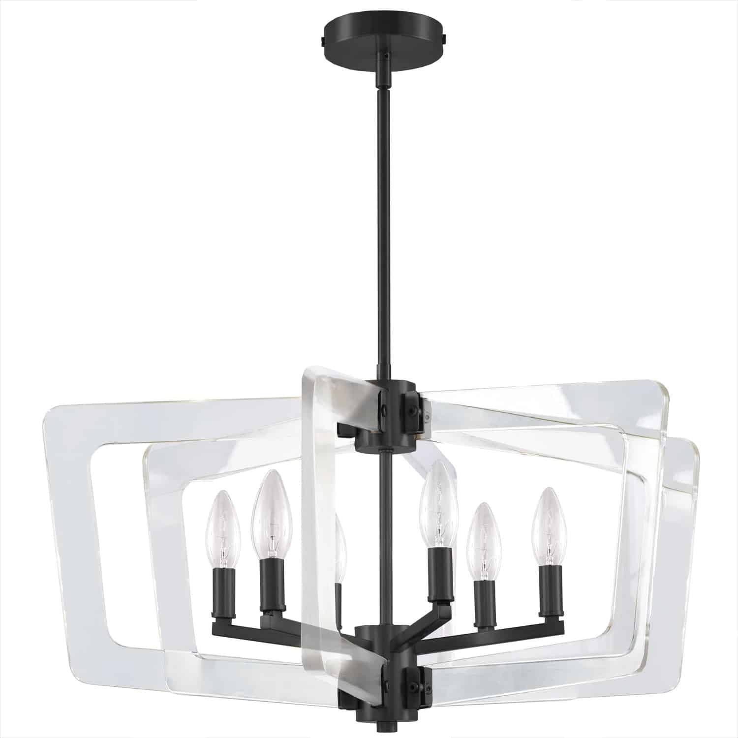 6 Light Incandescent Chandelier, Matte Black with Acrylic Arms