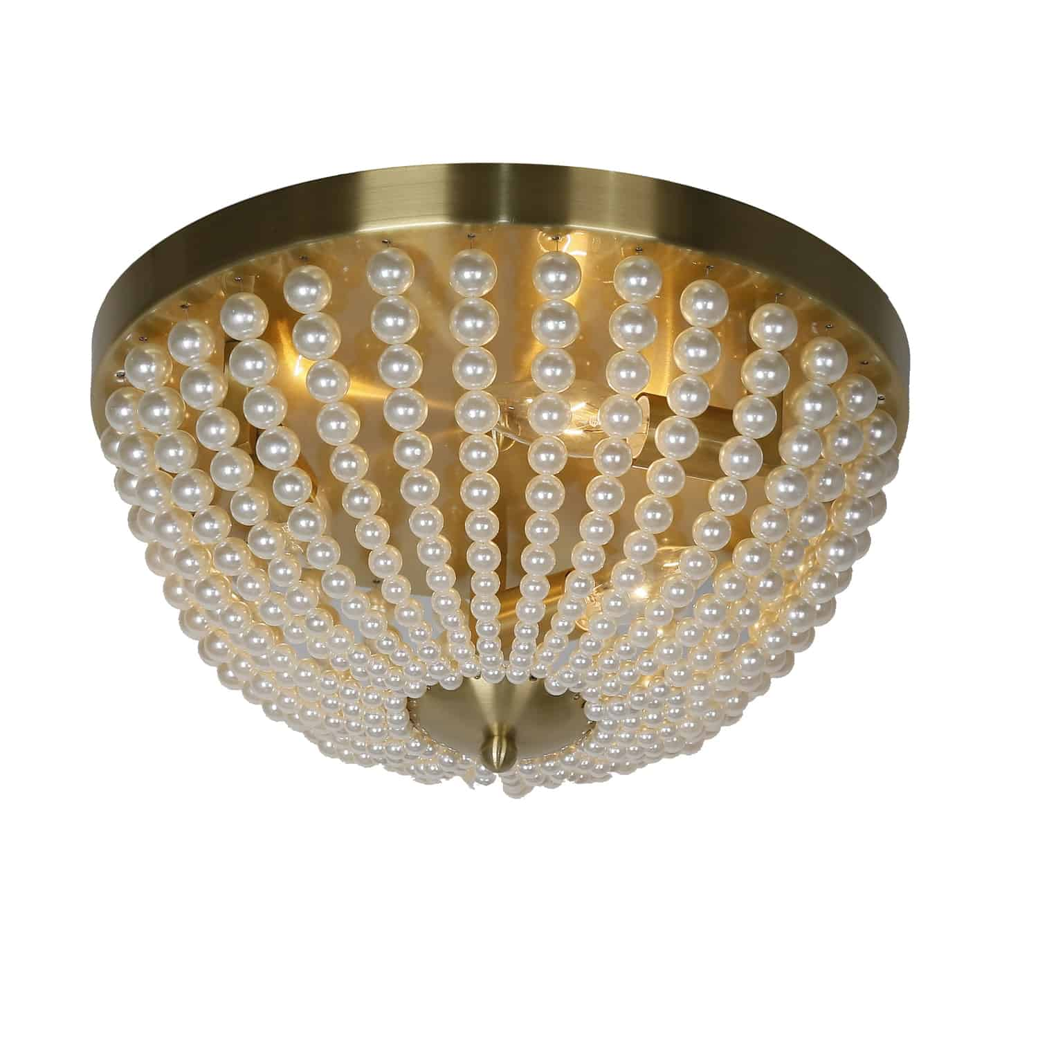 3 Light Incandescent Flush Mount Aged Brass Finish with Pearls