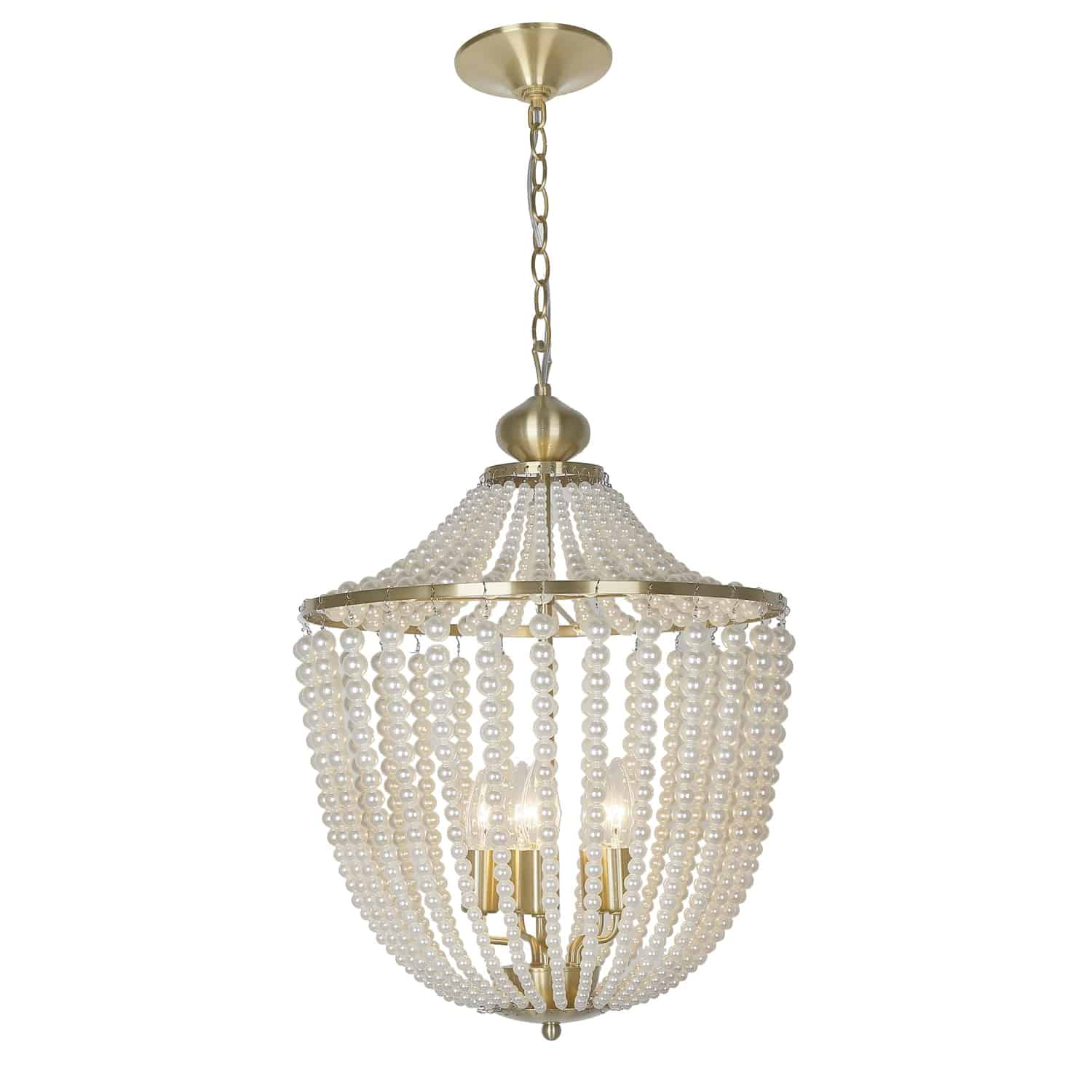 5 Light Incandescent Chandelier Aged Brass Finish with pearls