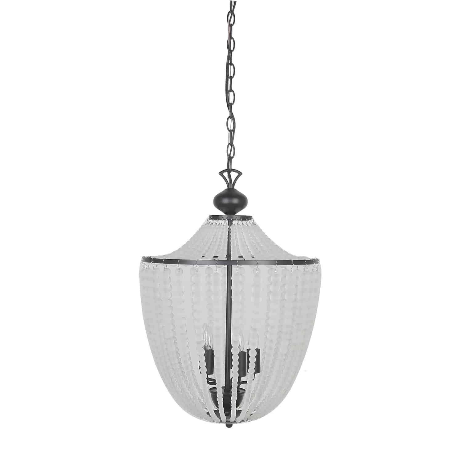 5 Light Incandescent Chandelier Matte Black Finish with Frosted Beads