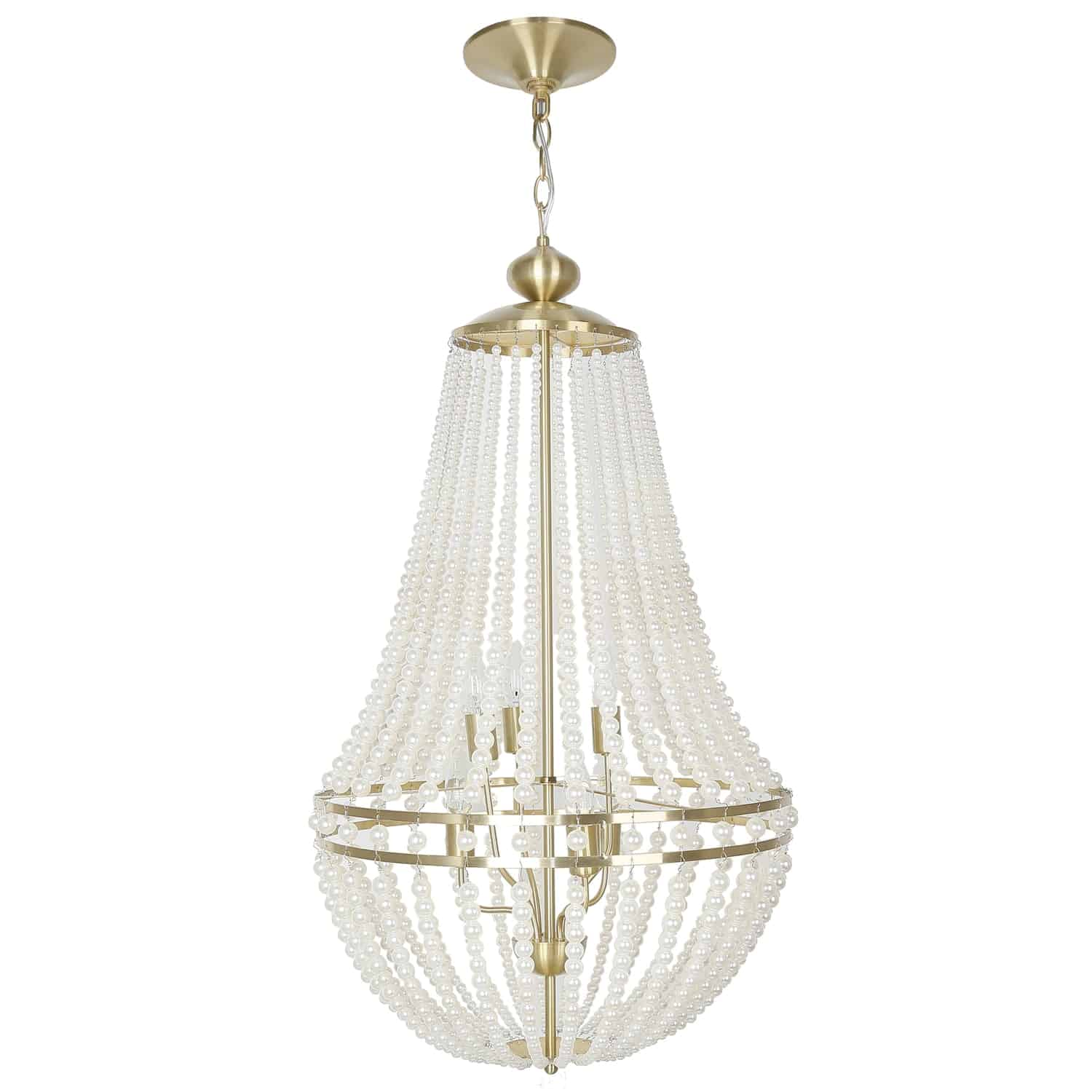 6 Light Incandescent Chandelier Aged Brass Finish with Pearls