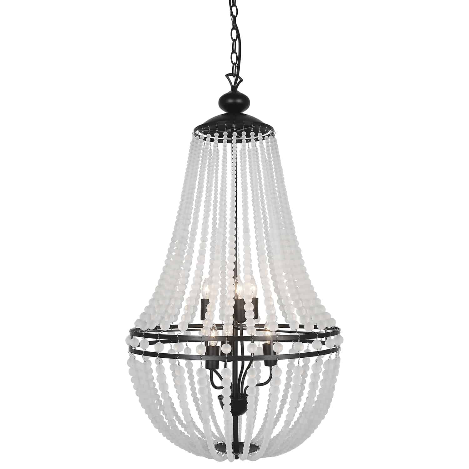 6 Light Incandescent Chandelier Matte Black Finish with Frosted Beads