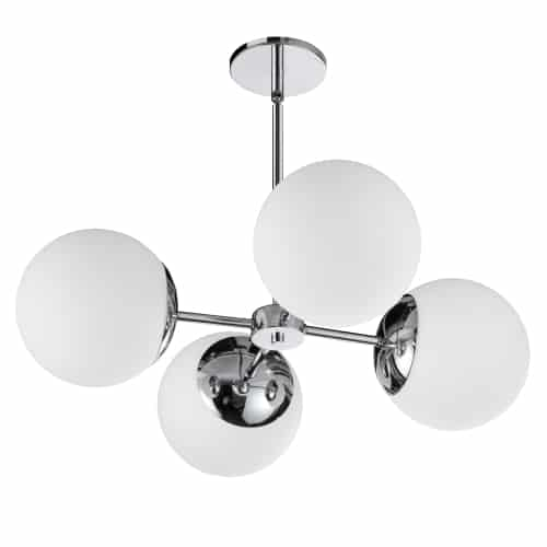 4 Light Halogen Polished Chrome Chandelier w/ White Glass