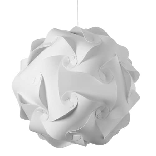 The ingenious design of the Globus collection of pendant lighting lends its unique flair to any room in your home and any place you want to create a center of attention.  A simple satin chrome drop holds a fabric shade that swirls and overlaps in a precise and intricate pattern that creates movement and an enchanting play to the light. It's the perfect addition to any contemporary décor scheme and adds whimsical style to minimalist furnishings. The Globus family of lighting comes in a range of sizes to suit your specific needs.