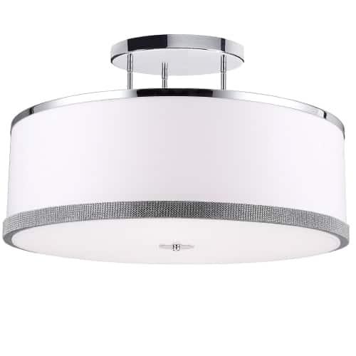 5 Light Semi-Flush, Polished Chrome Finish, White Shade with Crystal Studded Band