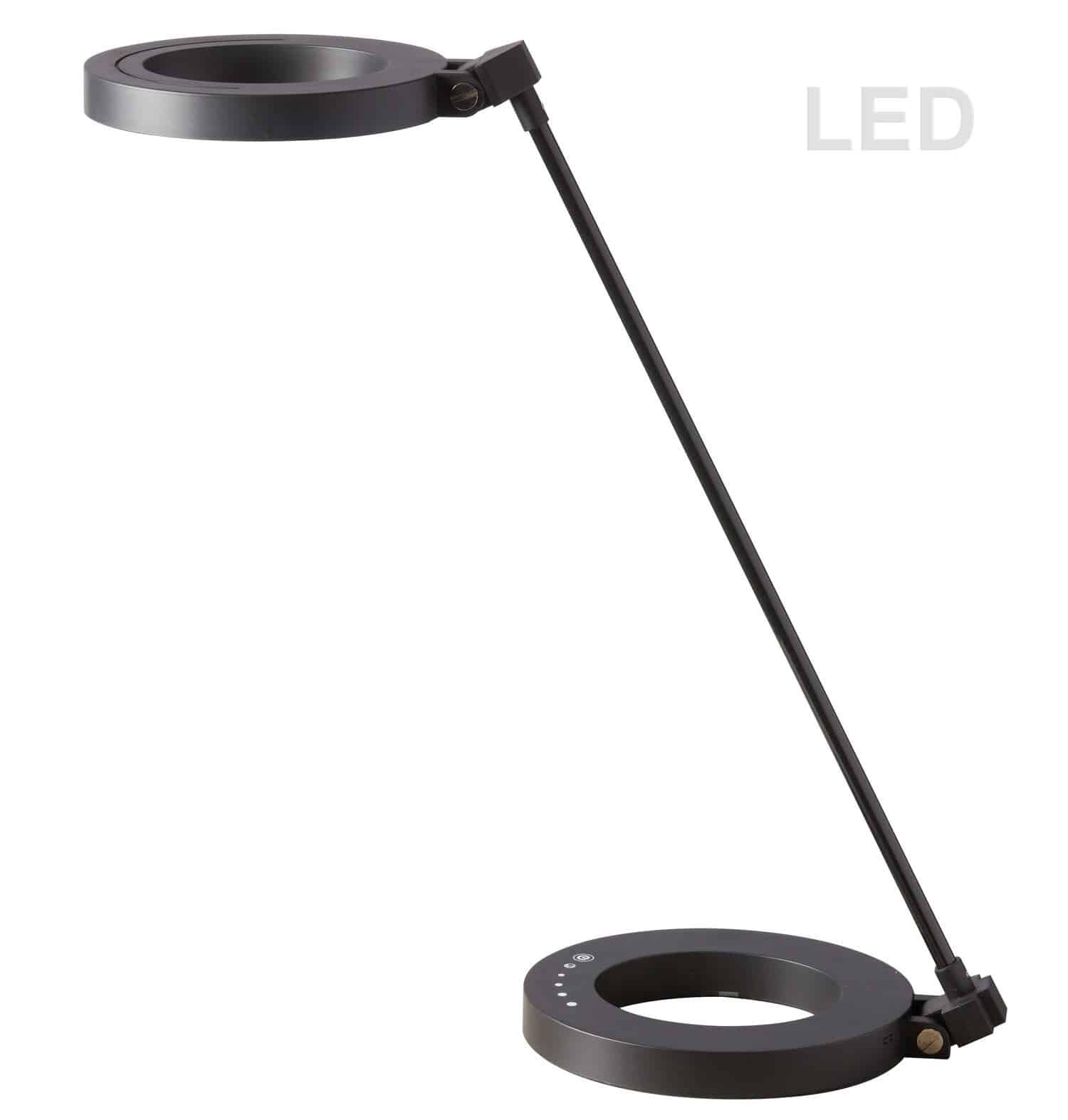 Compact LED Desk Lamp, with Dimmable Switch & Night Light Texture, Matte Black finish
