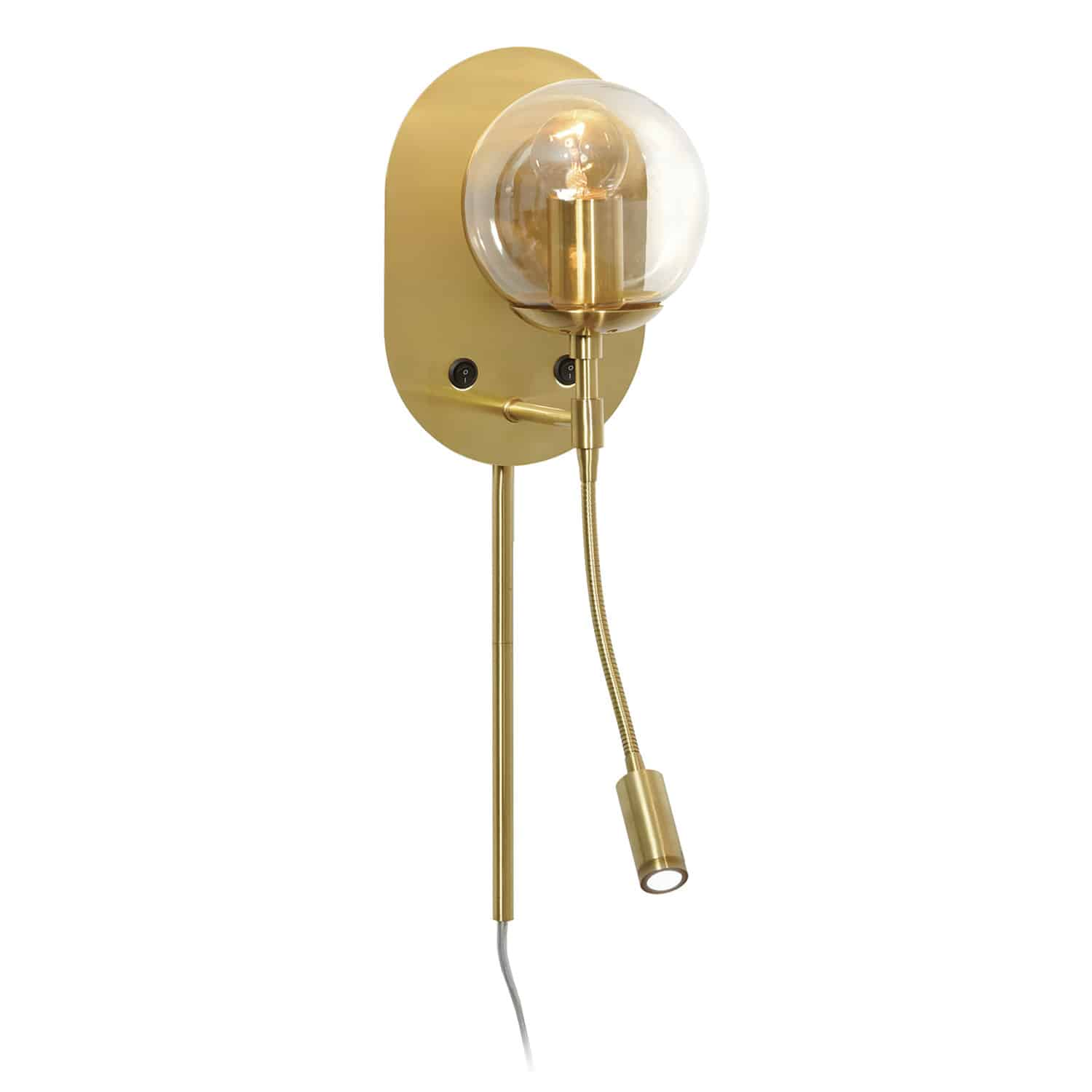 1 Light Incandescent Wall Sconce with LED Reading Light Aged Brass Finish