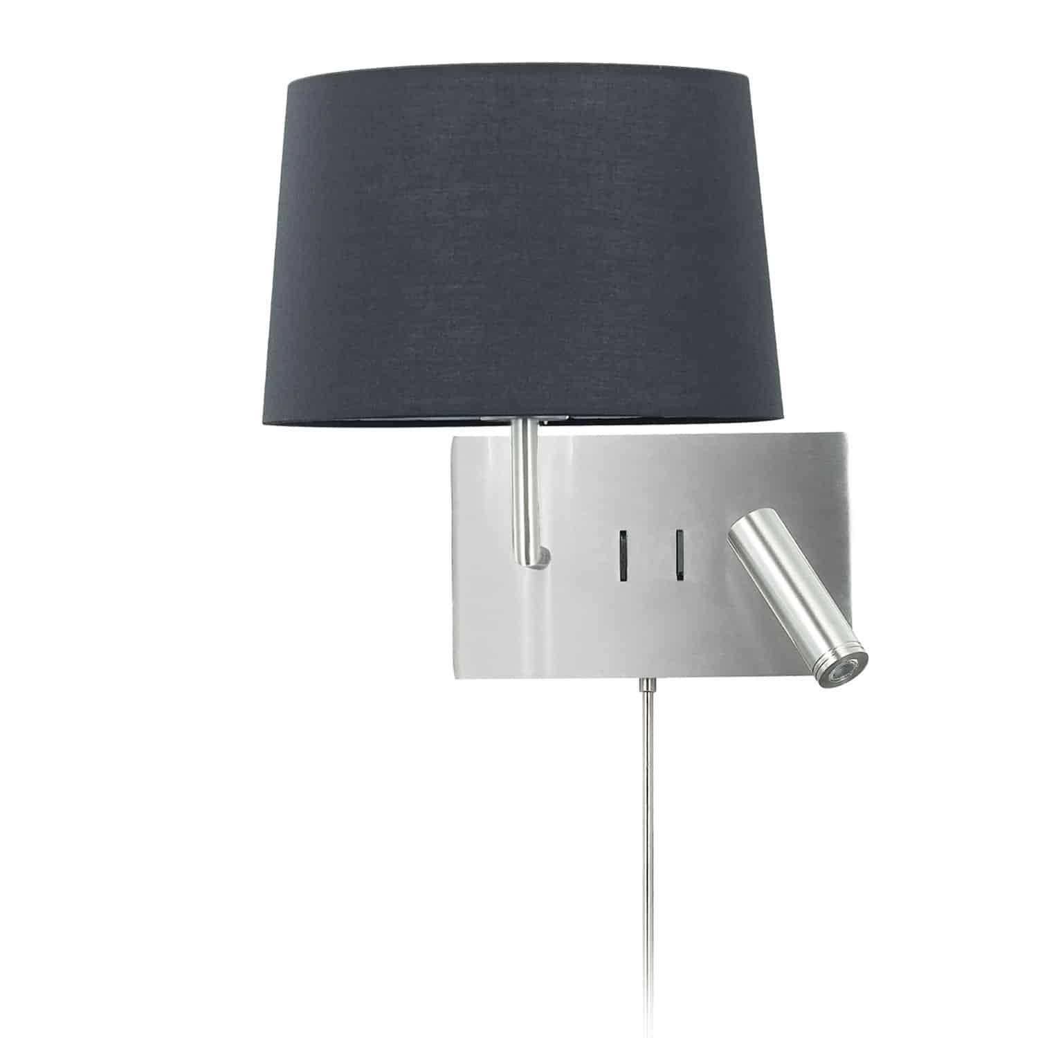 1 Light Incandescent Wall Scone with 3W Reading Light , Satin Chrome with Black Shade