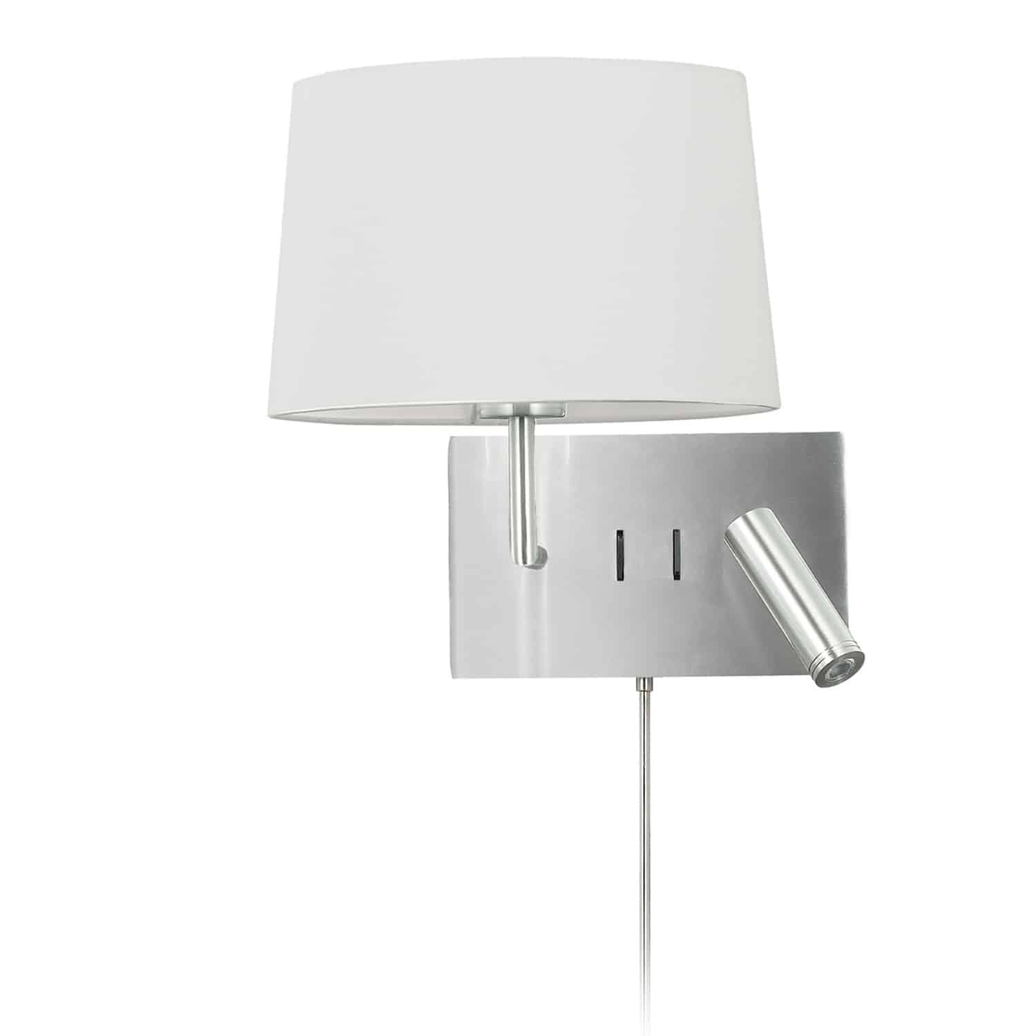 1 Light Incandescent Wall Scone with 3W Reading Light , Satin Chrome with White Shade