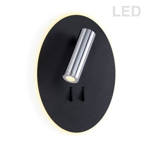12W LED Backlight with 3W LED Downlight, Painted Black Backplate and Polished Chrome Finish Downlight