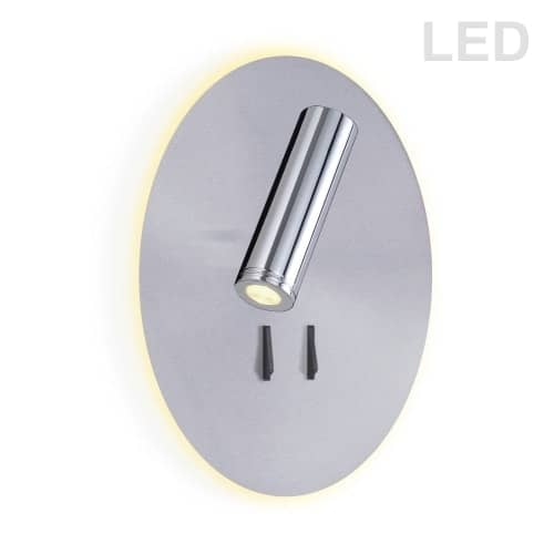 12W LED Backlight with 3W Downlight, Satin Chrome Backplate and Polished Chrome Finish Downlight