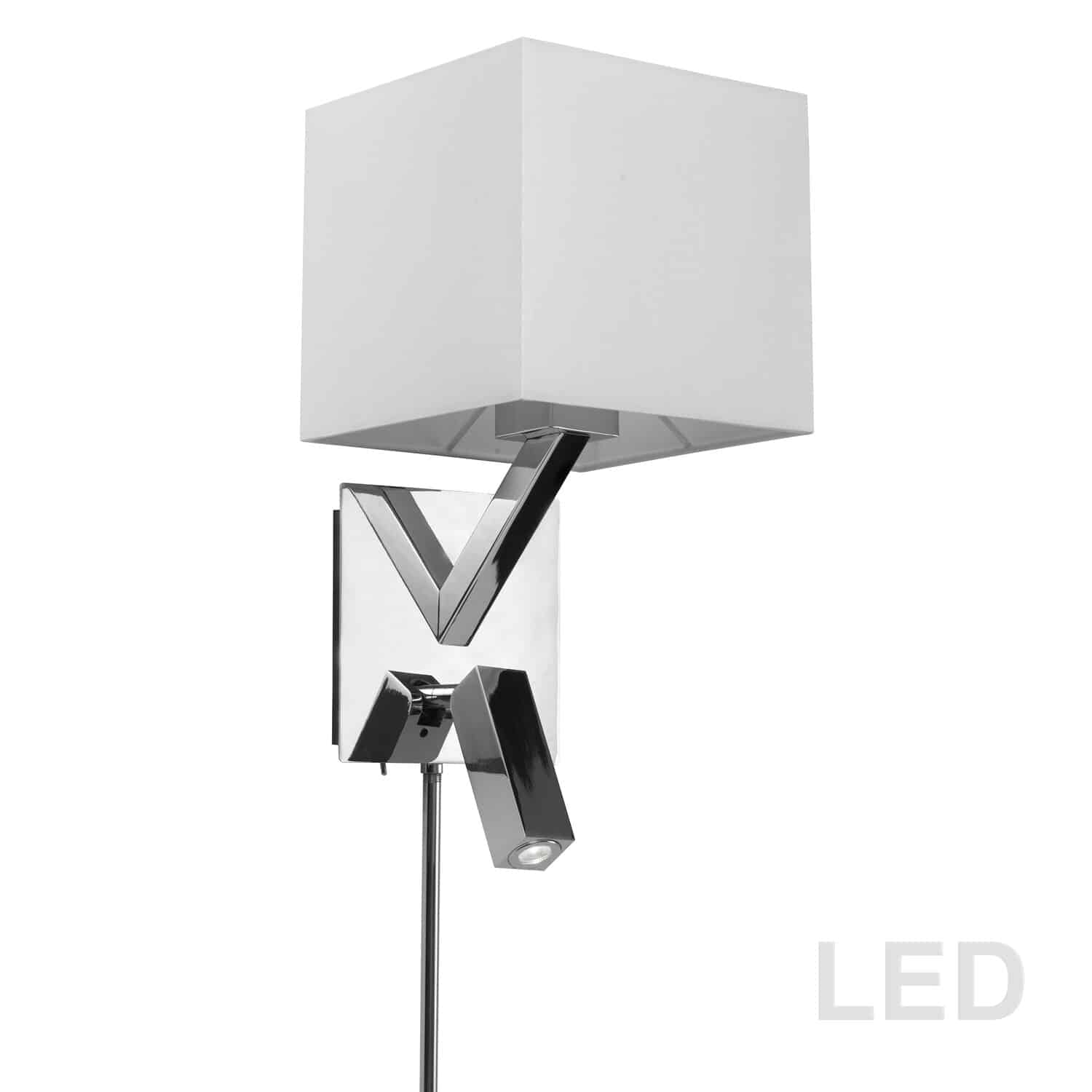 1 Light, 1 Downlight  LED Wall Sconce, Polished Chrome Finish with White Shade