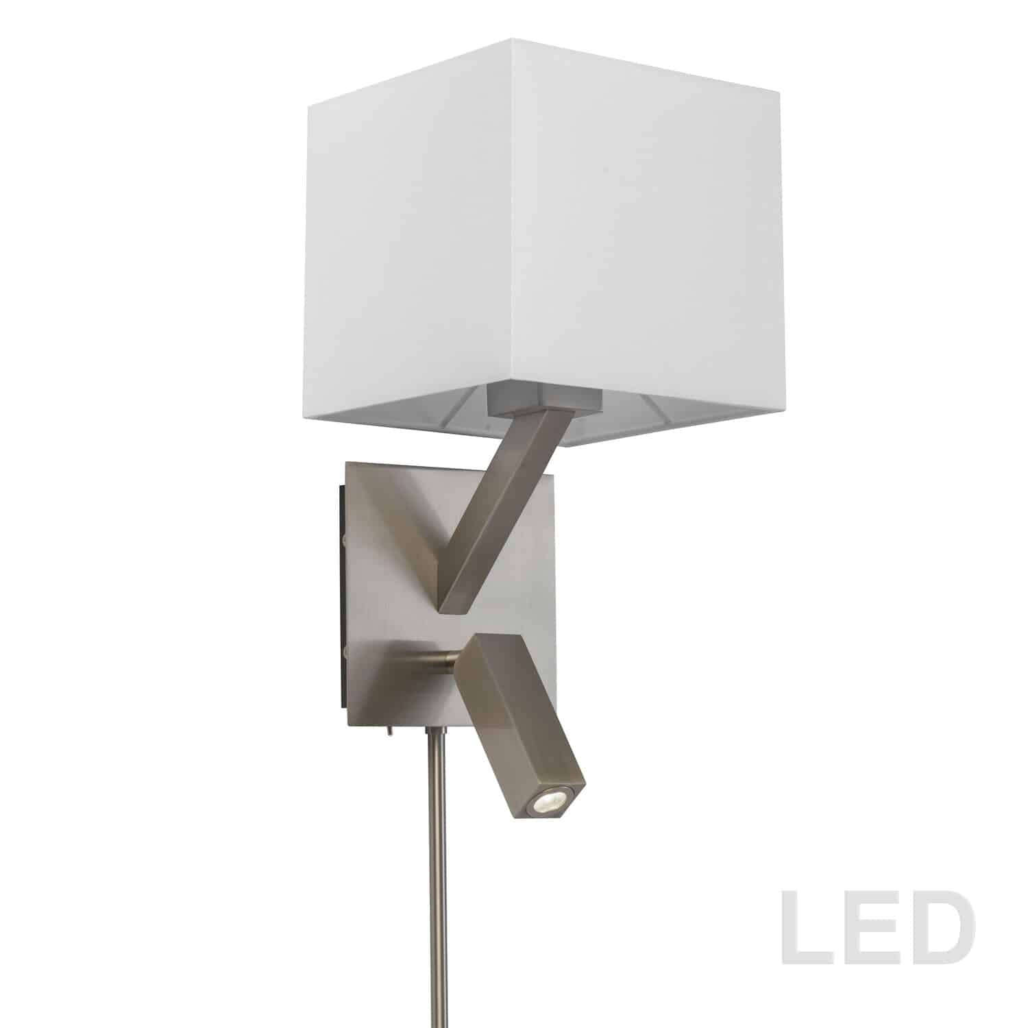 1 Light, 1 Downlight  LED Wall Sconce, Satin Chrome Finish with White Shade
