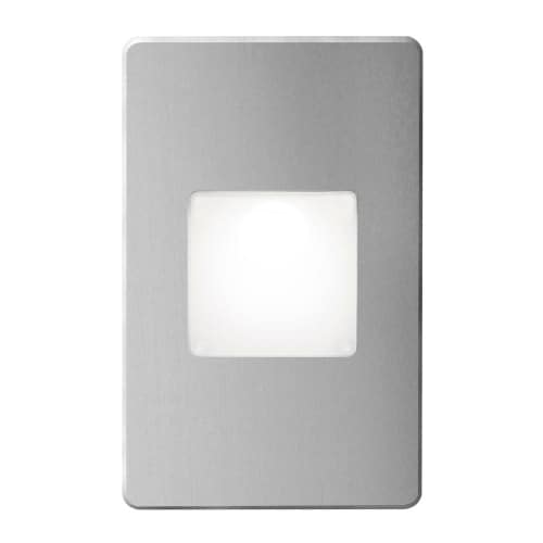 120VAC input, L125mmxW78mmxH37mm, 2700K, 3.3W IP65, Brushed Aluminum Wall LED Light with White Lens.