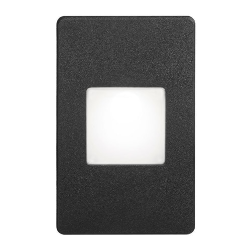 120VAC input, L125mmxW78mmxH37mm, 2700K, 3.3W IP65, Black Wall LED Light with White Lens.
