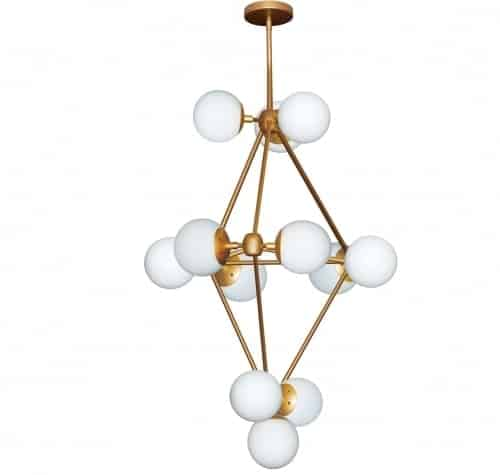 12 Light Foyer Chandelier, Gold Finish, Frosted White Glass