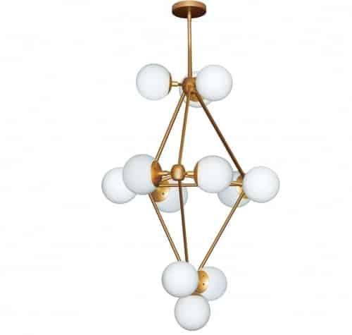12 Light Foyer Chandelier, Gold Finish, Frosted White Glass
