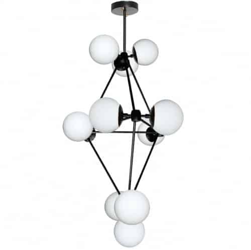 12 Light Chandelier, Black Finish, White Glass
