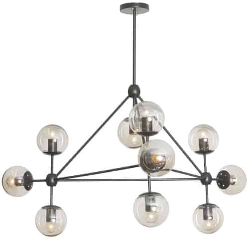 10 Light Triangular Chandelier, Matte Black Finish, Cognac Glass