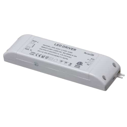 ETL 120VAC input, 24VDC output 30W Class II Triac Dimmable Power Supply 170x48x25mm for Strip Light, Constant Valtage.
