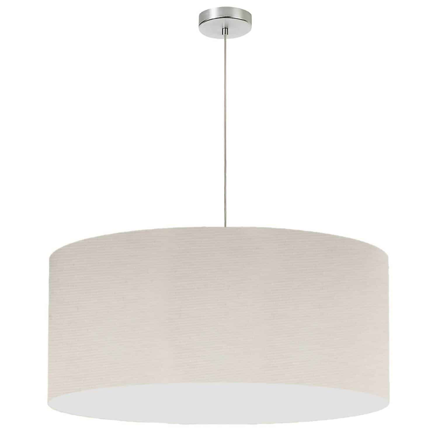 "1 Light, 28"" Drum Shade Pendant, No Bottom Diffuser, Beige Italian Linen Fabric"