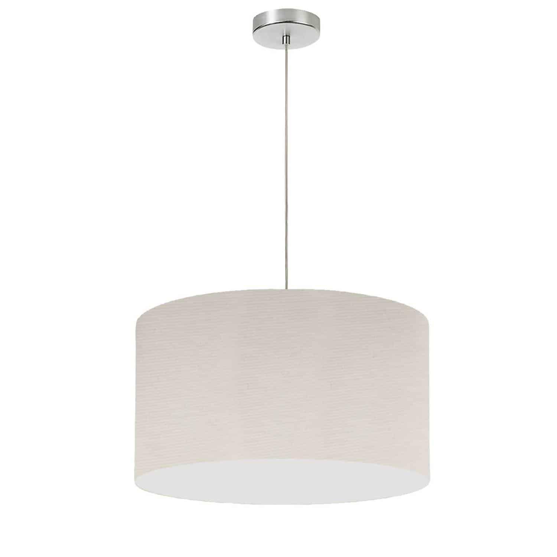 "1 Light, 19"" Drum Shade Pendant, Beige Italian Linen Fabric"