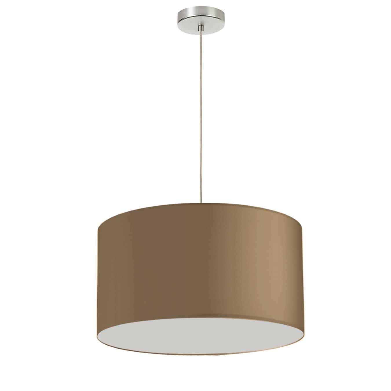 """1 Light, 19"""" Drum Shade Pendant, Brushed Gold Fabric, Polished Chrome"""