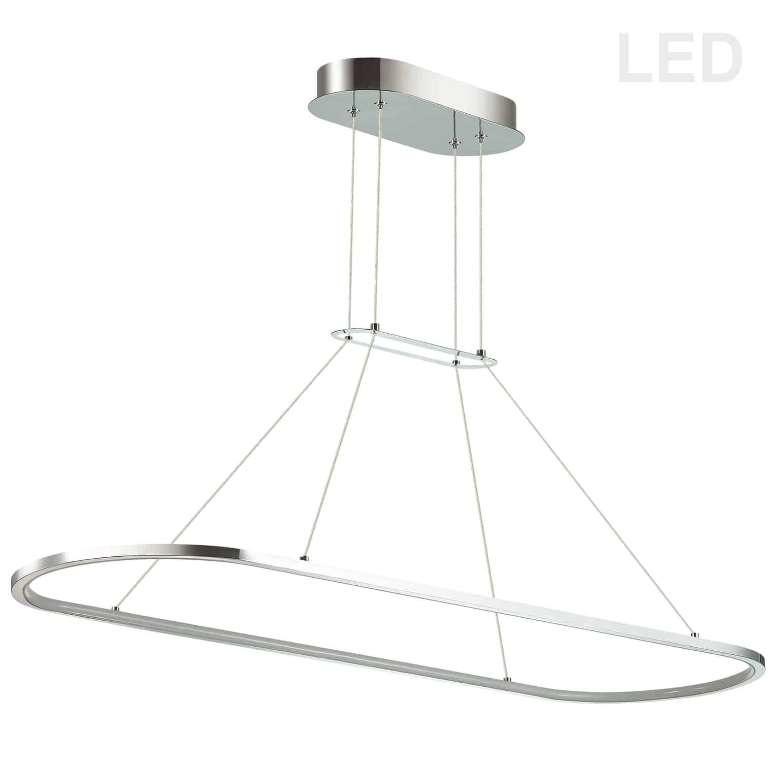 46W Horizontal Pendant, Polished Chrome with White Diffuser