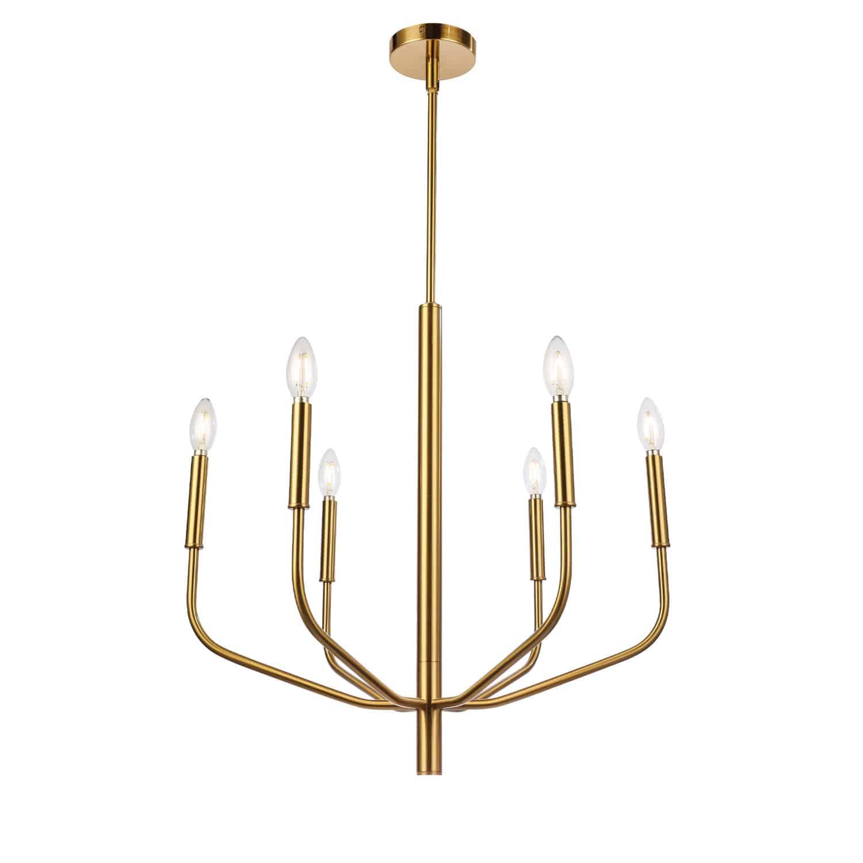 6 Light Incandescent Chandelier, Aged Brass