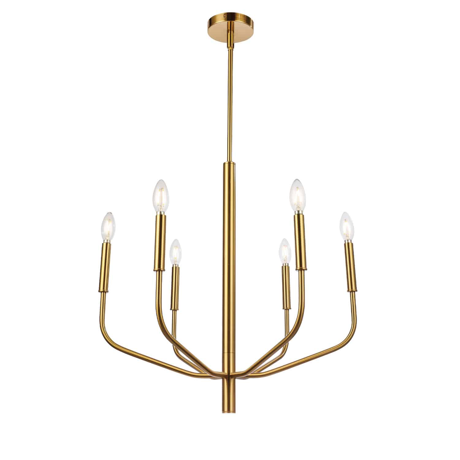 6 Light Incandescent Chandelier, Aged Brass