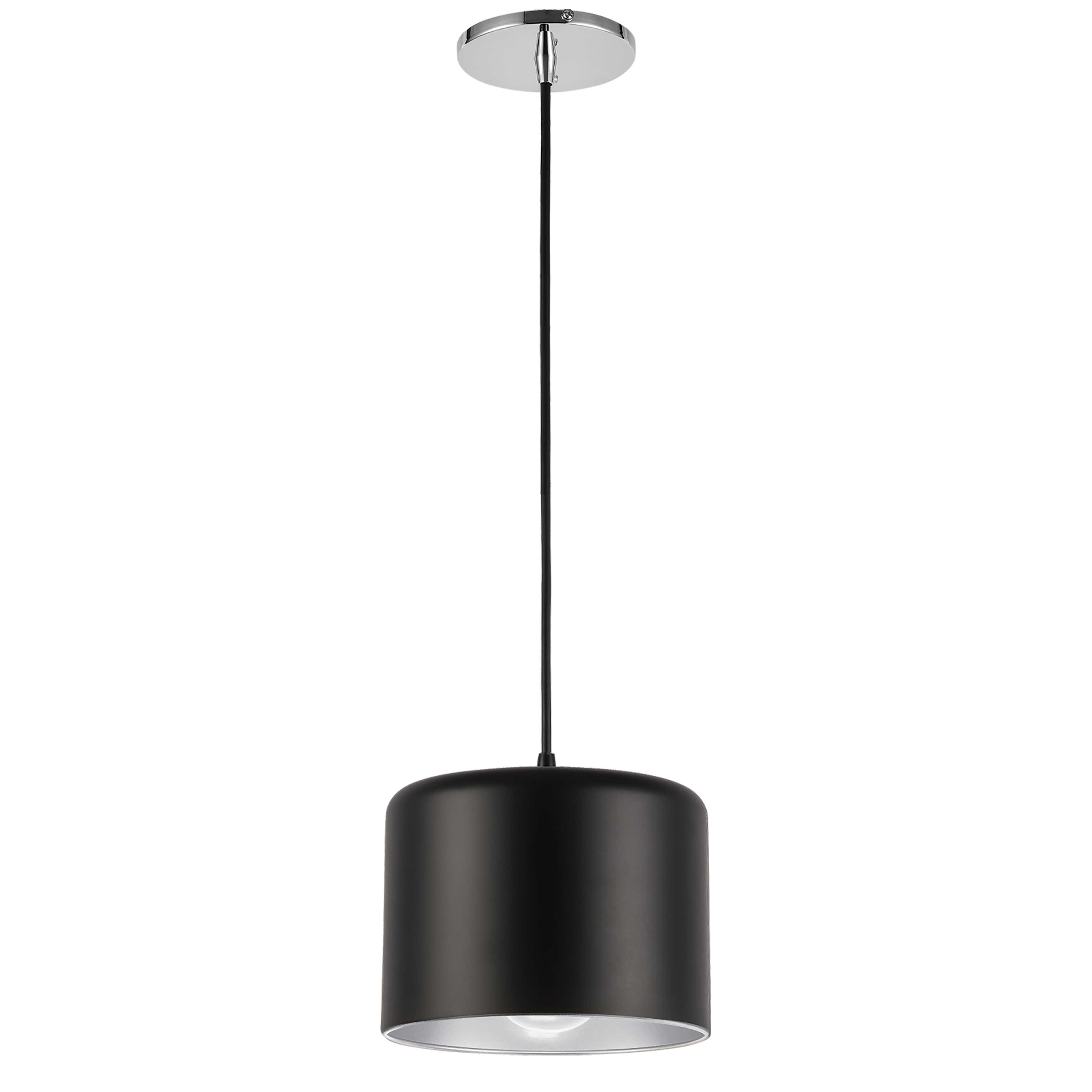 1 Light Incandescent Pendant, Polished Chrome with Matte Black & Silver Shade