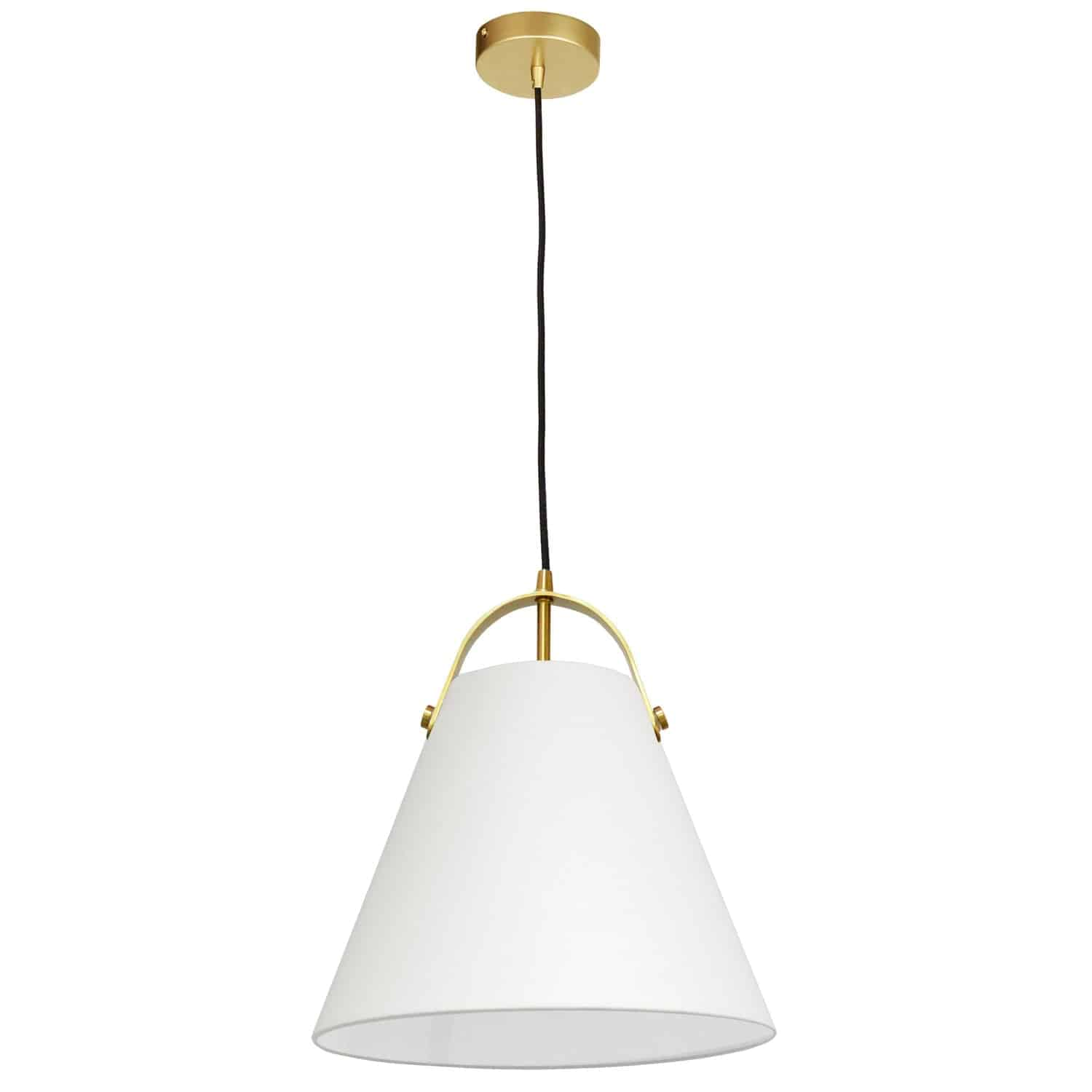 1 Light Emperor Pendant Aged Brass with Off White Shade