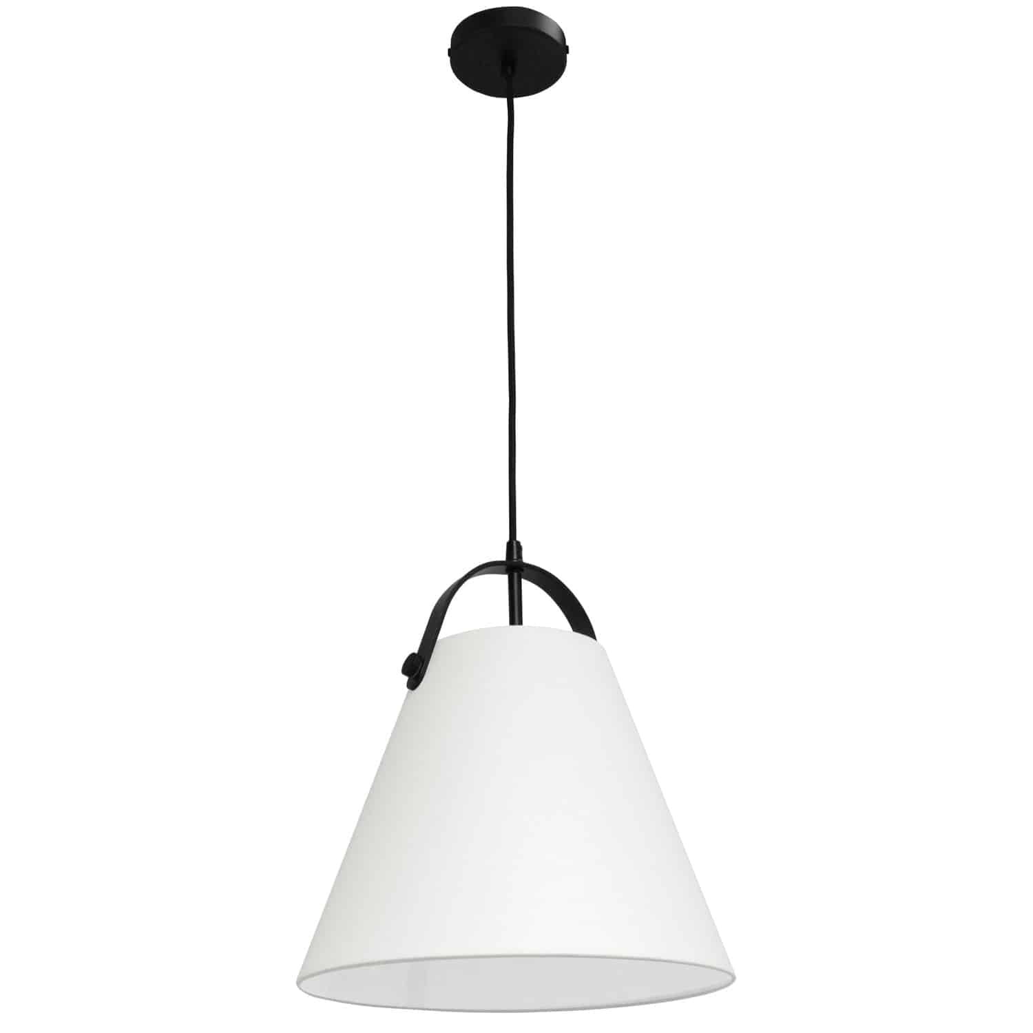 1 Light Emperor Pendant Matte Black with Off White Shade