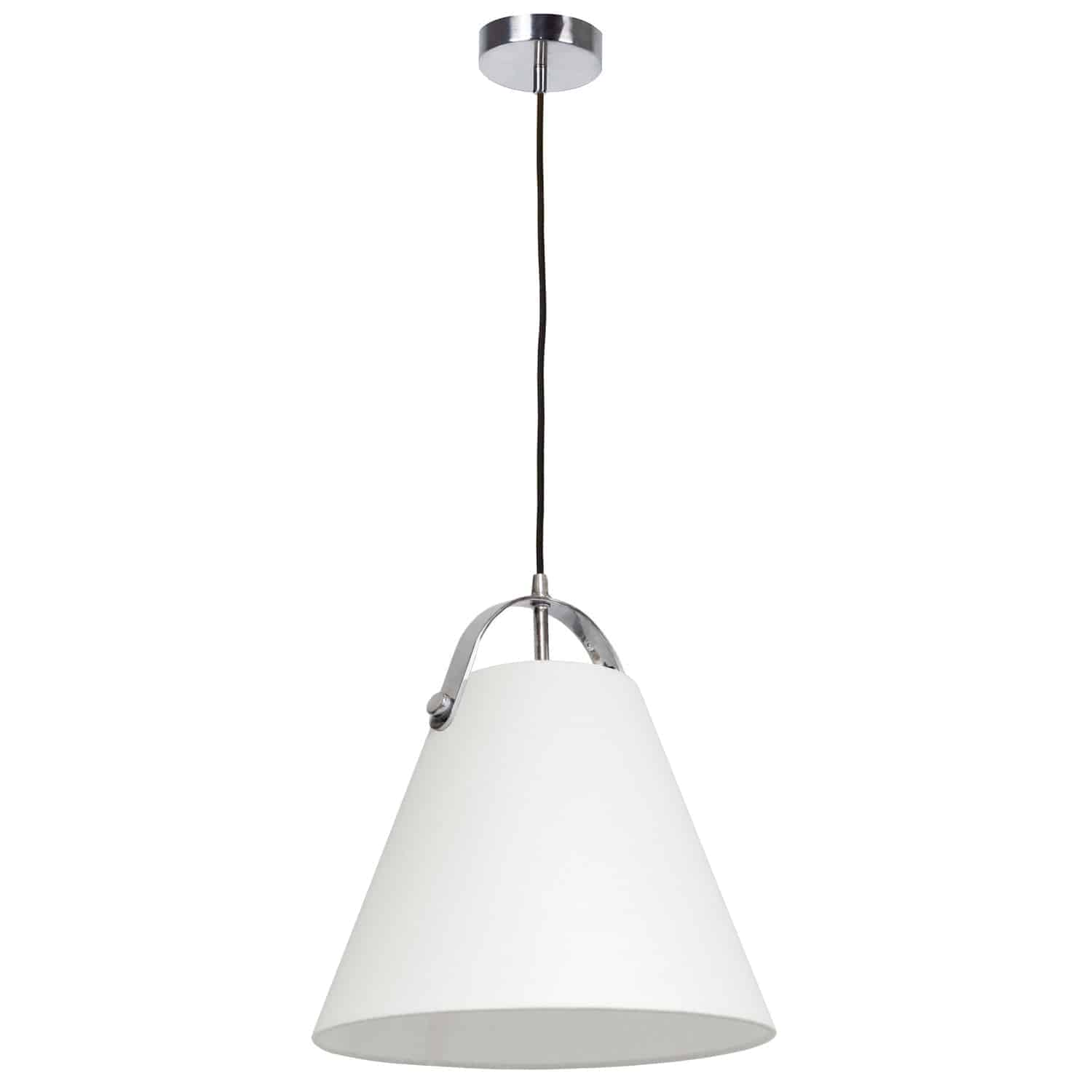1 Light Emperor Pendant Polished Chrome with Off White Shade