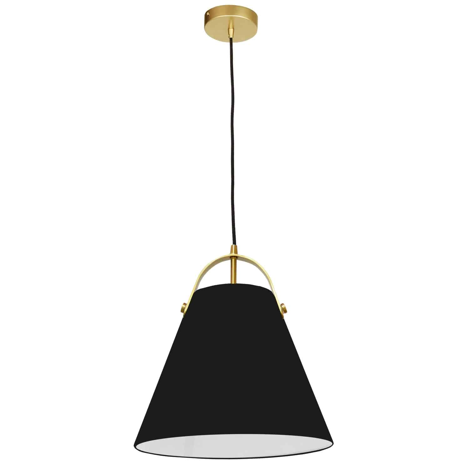 1 Light Emperor Pendant Aged Brass with Black Shade