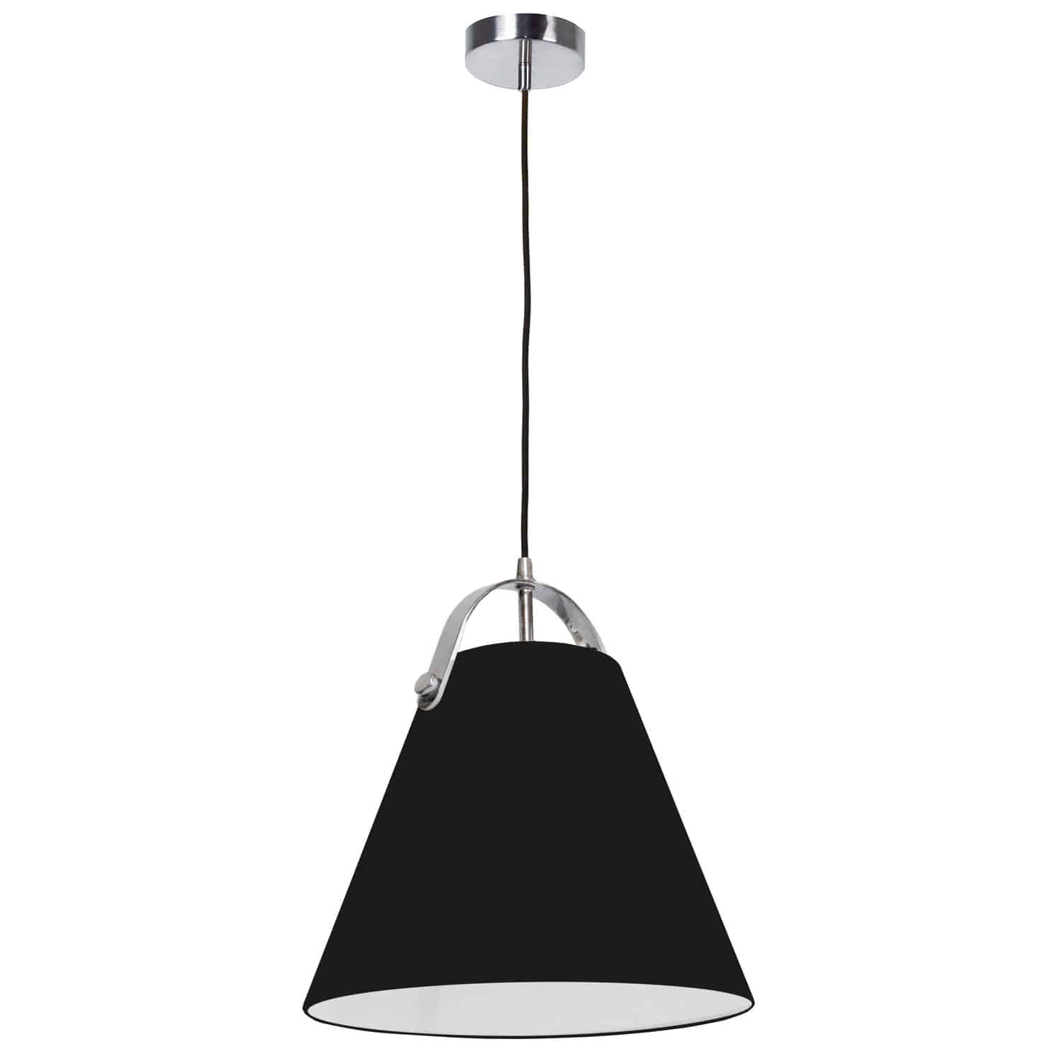 1 Light Emperor Pendant Polished Chrome with Black Shade