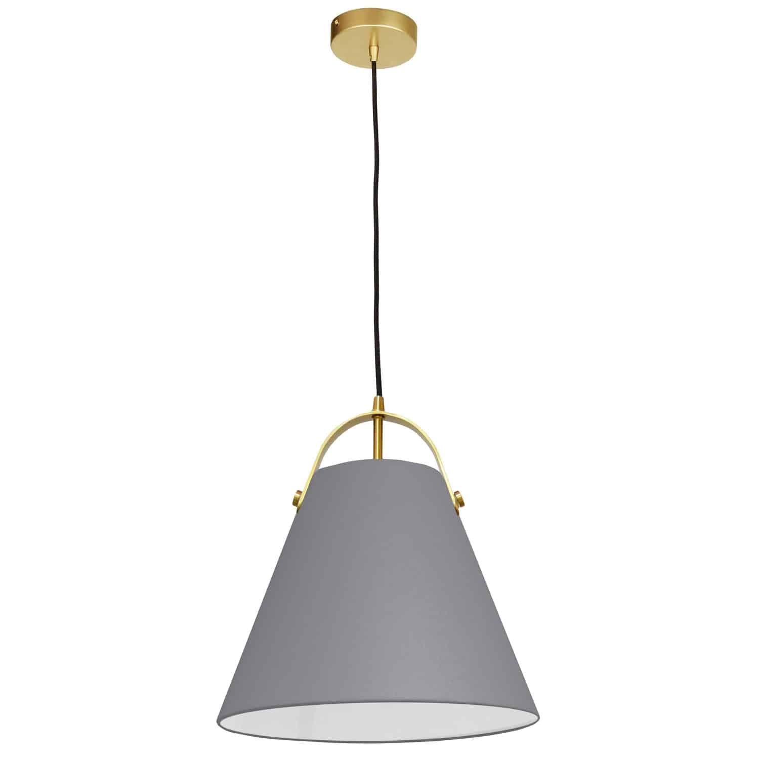 1 Light Emperor Pendant Aged Brass with Grey Shade